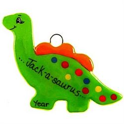Green Dough Dinosaur Handmade Ornament