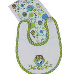 Boy Owl Bib and Burp Gift Set