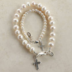 Mom and Me Cross and Freshwater Pearl Bracelets