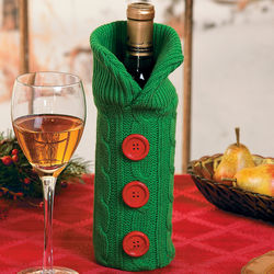 Green Sweater Wine Bottle Bag