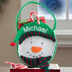 Boy's Embroidered Snowman Mini Treat Bag