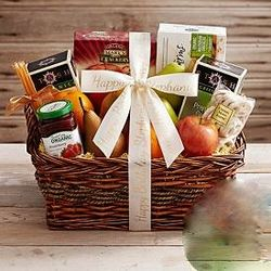 Organic Tea and Fruit Basket with Personalized Ribbon