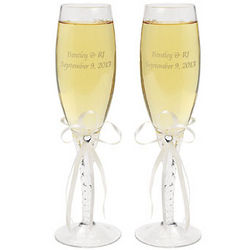 Personalized Ivory Lace Wedding Flute Set