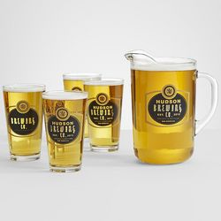 Personalized Barley Pitcher and 4 Pub Glasses