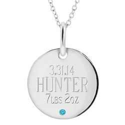 Baby Birthstone Engraved Mother's Necklace