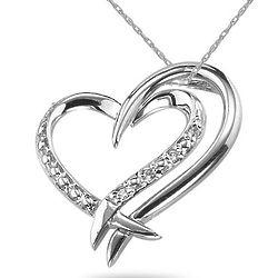 2 Hearts Connected Diamond Necklace in 14K White Gold