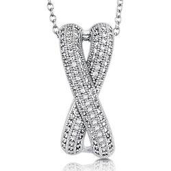 Sterling Silver CZ Criss Cross Pendant