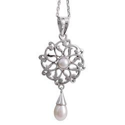 Chakra Mandala Cultured Pearl Pendant