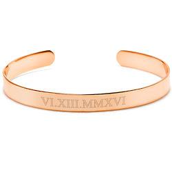 Roman Numeral Date Rose Gold Cuff Bracelet