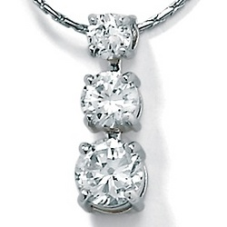 Cubic Zirconia Platinum Over Sterling Silver Triple Pendant