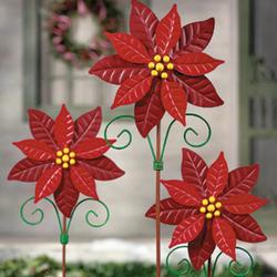 Poinsettia Pinwheel Yard Stakes