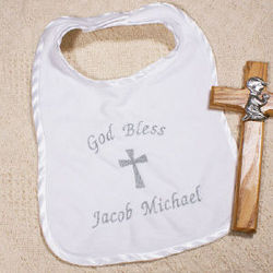 Embroidered God Bless Christening Baby Bib