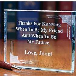 Personalized Thnks to Father Glass Paperweight