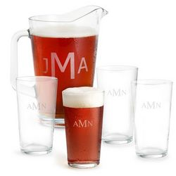Monogram Pint Glasses and Pitcher