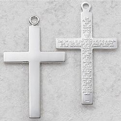 Sterling Silver Lord's Prayer Cross Necklace