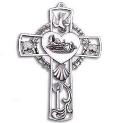 White Pewter Baby Cross