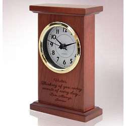 Personalized Red Wood Quartz Clock