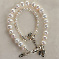 Mom and Me Key to Your Heart Pearl Bracelets