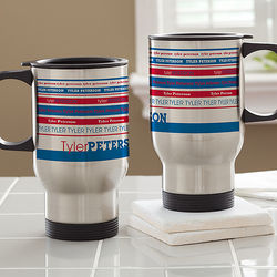 Signature Stripe Personalized Travel Mug