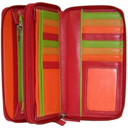 Red Double Zip Clutch Wallet
