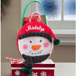 Girl's Embroidered Snowman Mini Treat Bag