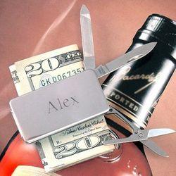 Engravable Silver Pocket Knife Money Clip