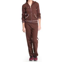 Women's Brown Marlina Fleece Hoodie and Sweat Pants Set