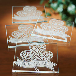 Personalized Celtic Shamrock Glass Coasters