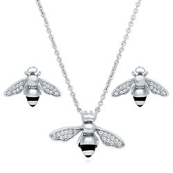 Silver Bee Necklace and Earrings Set with Swarovski Zirconia