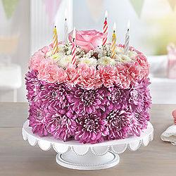 Birthday Wishes Large Pastel Flower Cake