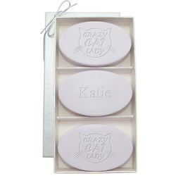Personalized Crazy Cat Lady Lavender Soap Trio