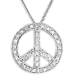 14k White Gold Necklace with Diamond Peace Sign Pendant
