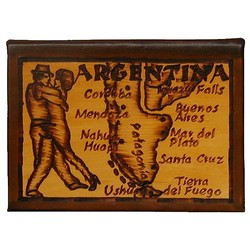Argentina Map Leather Photo Album in Natural