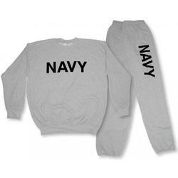Grey Navy Crew Neck Sweatsuit