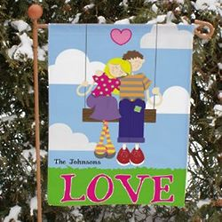 Personalized Couple on Swing Garden Flag