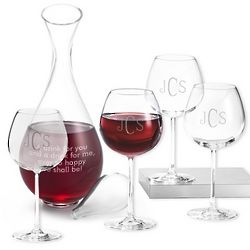 Four Red Wine Glasses and Decanter Set