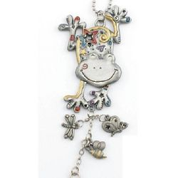 Engraved Pewter and Enamel Frog Ornament
