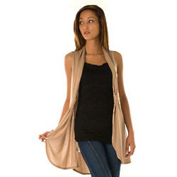 Tan Knit Lightweight Open Front Curtain Cardigan