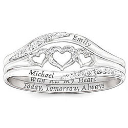 With All My Heart Personalized Diamond Stacking Rings