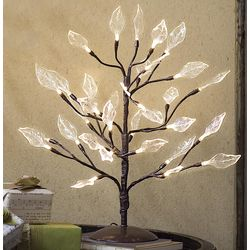 Lighted Willow Leaves Tree Sculpture
