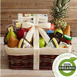 Ultimate Organic Snack Gift Basket with Personalized Ribbon