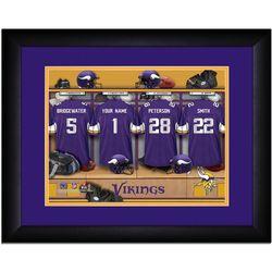 Minnesota Vikings Personalized Jersty Locker Room Framed Print