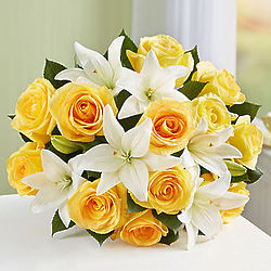 Yellow Rose & White Lily Bouquet Fair Trade Certified