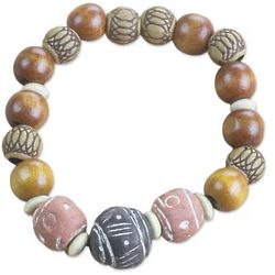 Earth Circle Wood, Terracotta & Recycled Bead Bracelet