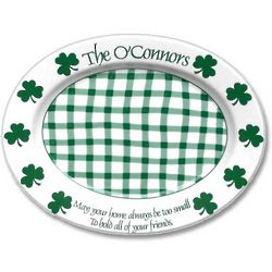 Personalized Irish Saying Platter with Shamrocks