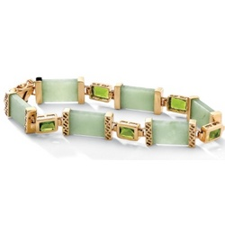 Jade and Peridot 18k Gold Over Sterling Silver Link 8'' Bracelet