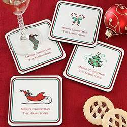 Seasons Greetings© Personalized Christmas Coasters