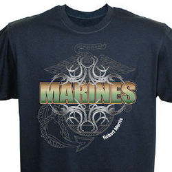 Marines Personalized Black T-Shirt