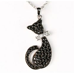 Black and White Simulated Diamond Cat Pendant