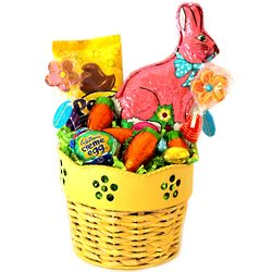 Deluxe Spring Easter Candy and Flower Basket